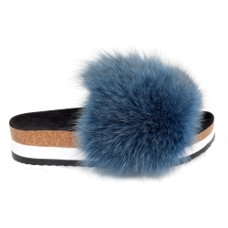 Platform / High Sole Slides with Navy Blue Fox Fur