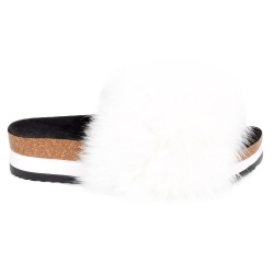 Platform / High Sole Slides with White Fox Fur