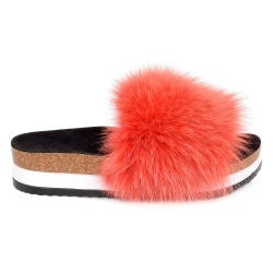 Platform / High Sole Slides with Red Fox Fur