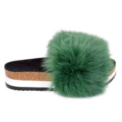 Platform / High Sole Slides with Green Fox Fur
