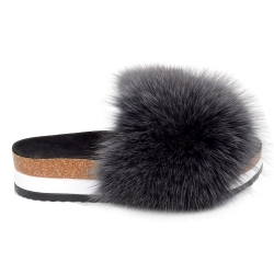 Platform / High Sole Slides with Graphite Fox Fur