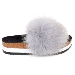 Platform / High Sole Slides with Grey Fox Fur