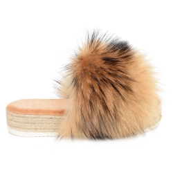 Platform Slides with Braided Sole and Raccoon Fur