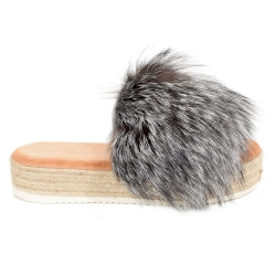 Platform Slides with Braided Sole and Silver Fox Fur