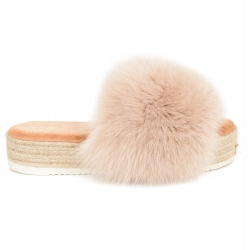Platform Slides with Braided Sole and Beige Fox Fur