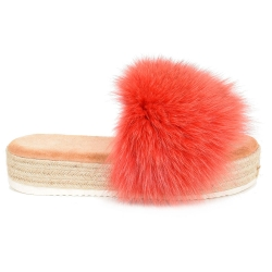 Platform Slides with Braided Sole and Pink Fox Fur
