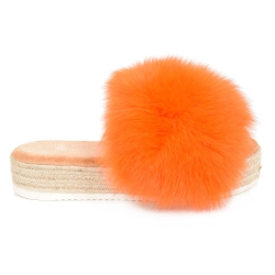 Platform Slides with Braided Sole and Orange Fox Fur