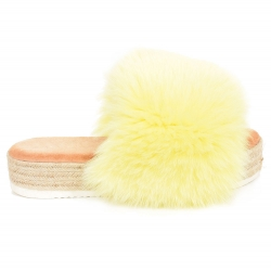 Platform Slides with Braided Sole and Yellow Fox Fur