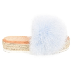 Platform Slides with Braided Sole and Light Blue Fox Fur