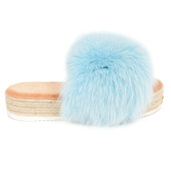 Platform Slides with Braided Sole and Blue Fox Fur