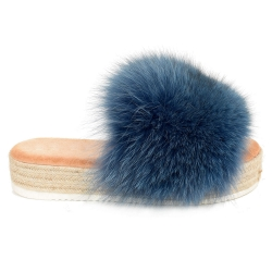 Platform Slides with Braided Sole and Navy Blue Fox Fur