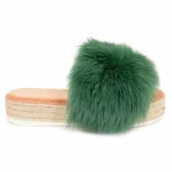 Platform Slides with Braided Sole and Green Fox Fur
