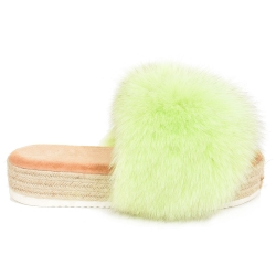 Platform Slides with Braided Sole and Light Green Fox Fur