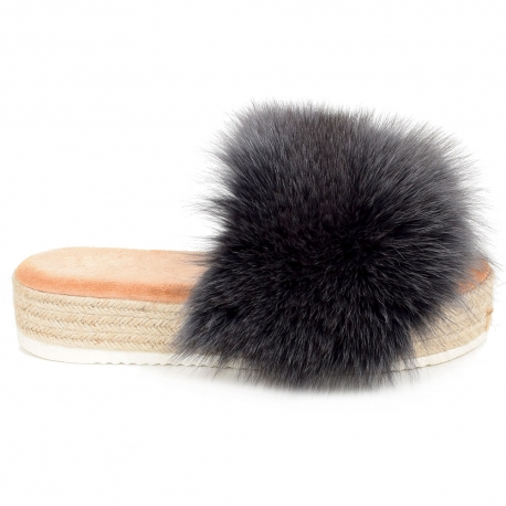 Platform Slides with Braided Sole and Graphite Fox Fur