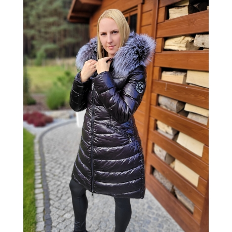 Women's Black Quilted Coat with Silver Fox Fur Hood Trim