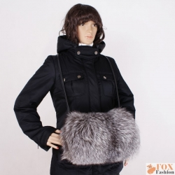 Genuine Silver Fox Fur Muff Hand Warmer