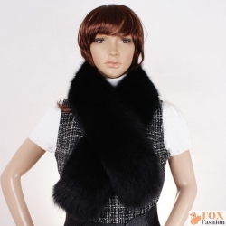 Genuine Black Fox Fur Scarf Shawl Muffler Wrap
