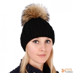 Black Wool Hat with Raccoon Fur Pom Pom
