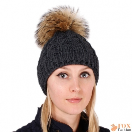 Graphite Wool Hat with Raccoon Fur Pom Pom