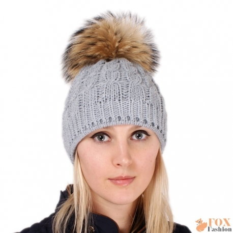 Grey Wool Hat with Raccoon Fur Pom Pom