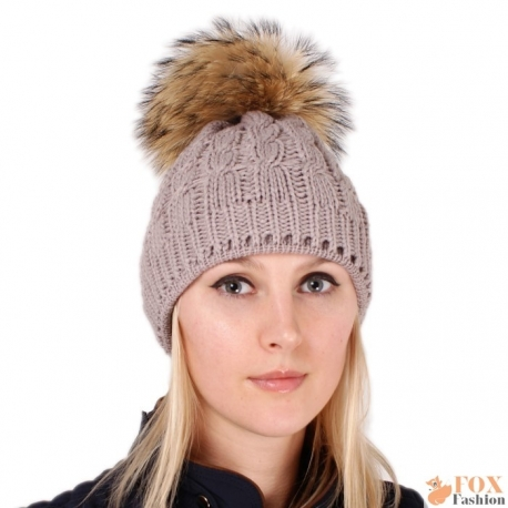 Beige Wool Hat with Raccoon Fur Pom Pom
