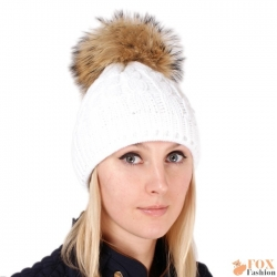 White Wool Hat with Raccoon Fur Pom Pom