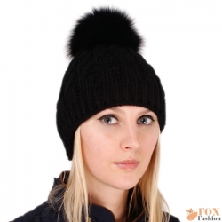 Black Wool Hat with Black Fox Fur Pom Pom