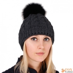 Graphite Wool Hat with Black Fox Fur Pom Pom