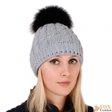 Grey Wool Hat with Black Fox Fur Pom Pom