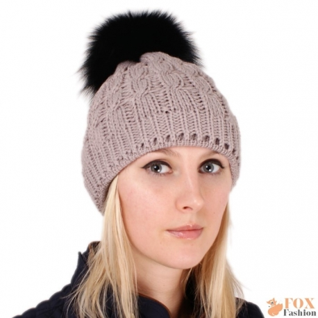 Beige Wool Hat with Black Fox Fur Pom Pom