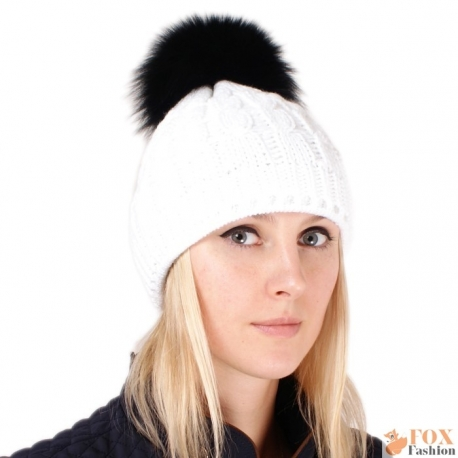White Wool Hat with Black Fox Fur Pom Pom