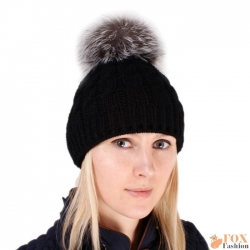 Black Wool Hat with Silver Fox Fur Pom Pom