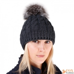 Graphite Wool Hat with Silver Fox Fur Pom Pom