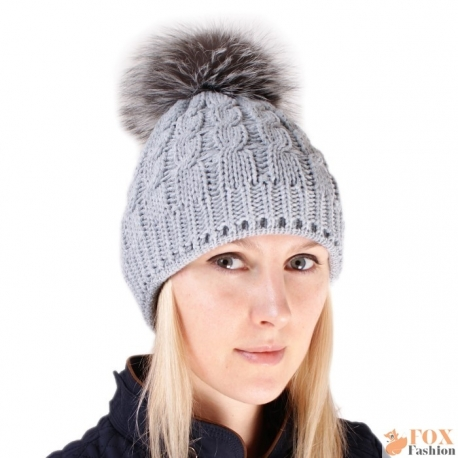 Grey Wool Hat with Silver Fox Fur Pom Pom