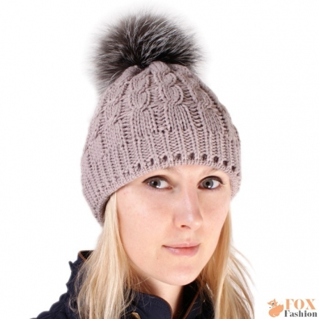 Beige Wool Hat with Silver Fox Fur Pom Pom