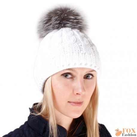 White Wool Hat with Silver Fox Fur Pom Pom