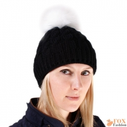Black Wool Hat with White Fox Fur Pom Pom
