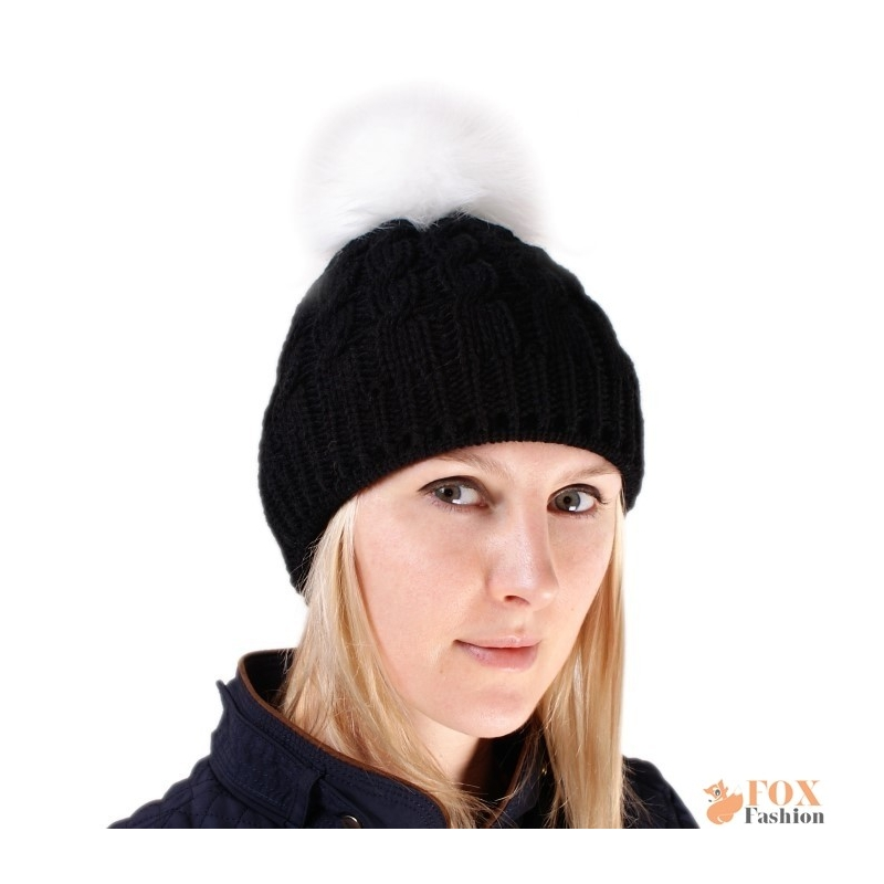a6ea1f84656 Black Wool Hat with White Fox Fur Pom Pom - FOX