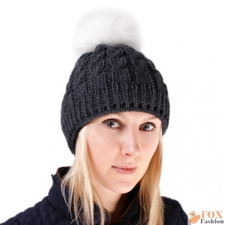 Graphite Wool Hat with White Fox Fur Pom Pom