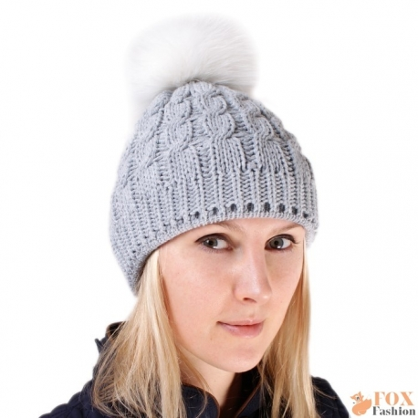 Grey Wool Hat with White Fox Fur Pom Pom