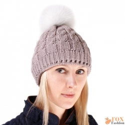 Beige Wool Hat with White Fox Fur Pom Pom