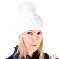 White Wool Hat with White Fox Fur Pom Pom