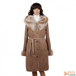 Shearling sheepskin coat with toscana hood (KP01)