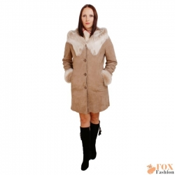 Shearling sheepskin coat with toscana hood (KP09)
