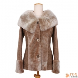 Shearling sheepskin hooded jacket (KP04)