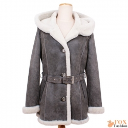 Shearling sheepskin hooded jacket (KP07)