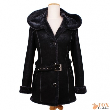 Shearling sheepskin hooded jacket (KP08)