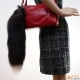 Fashionable Silver Fox Tail Fur Keychain Bag Charm