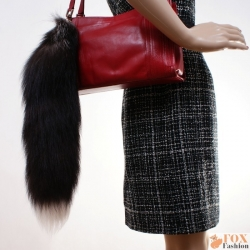 694117a0dd Fashionable Silver Fox Tail Fur Keychain Bag Charm