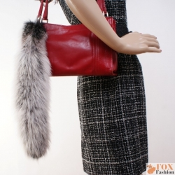 Bleached Green Fox Tail Fur Keychain Bag Charm